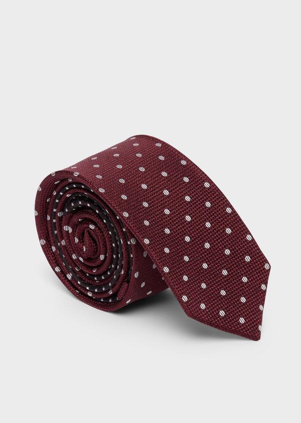 Cravate fine en soie bordeaux à pois blancs - Father and Sons 37815