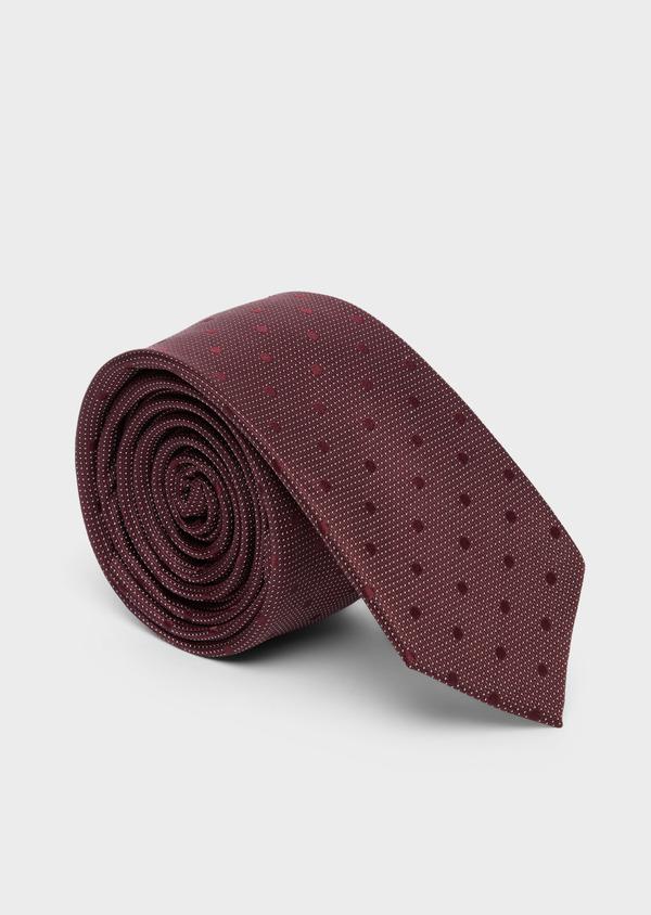 Cravate fine en soie bordeaux à pois ton sur ton - Father and Sons 37821