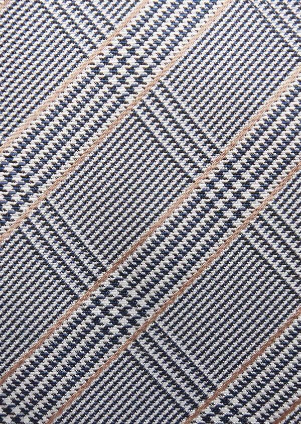 Cravate fine en soie gris et beige Prince de Galles - Father and Sons 37842