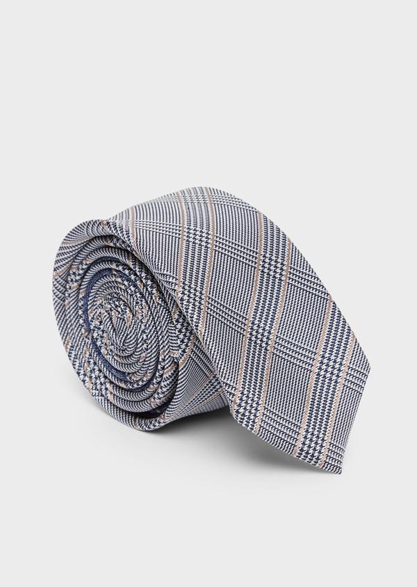 Cravate fine en soie gris et beige Prince de Galles - Father and Sons 37841