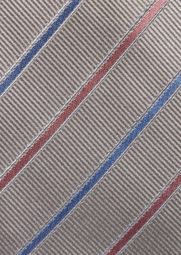 Cravate fine en soie grise à rayures rose et bleu - Father and Sons 37758