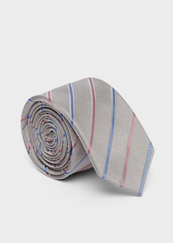 Cravate fine en soie grise à rayures rose et bleu - Father and Sons 37757