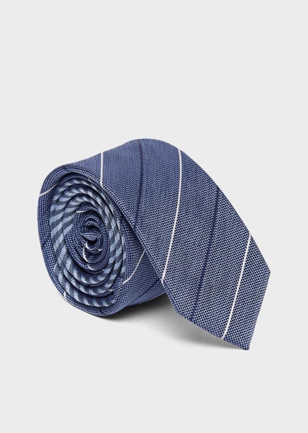 Cravate fine en soie bleue à rayures bleu et blanc - Father and Sons 37801