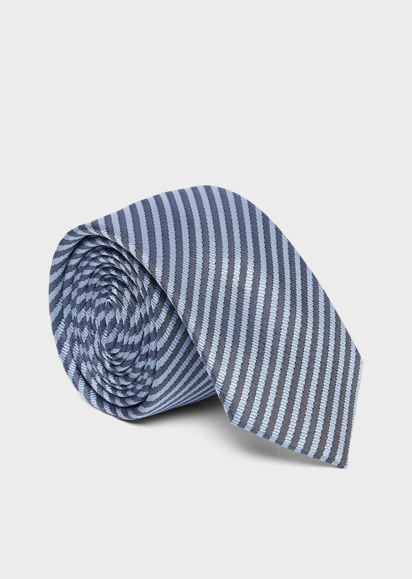 Cravate fine en soie à rayures bleu ciel et bleu marine - Father and Sons 37803