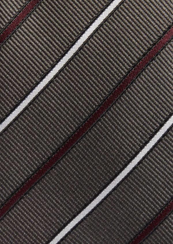Cravate club fine en soie gris blanc et bordeaux - Father and Sons 37820