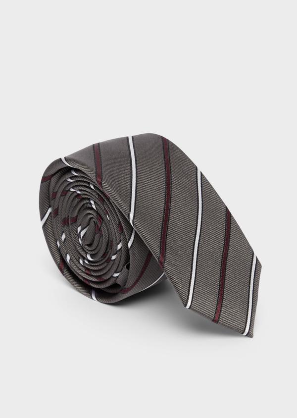 Cravate club fine en soie gris blanc et bordeaux - Father and Sons 37819