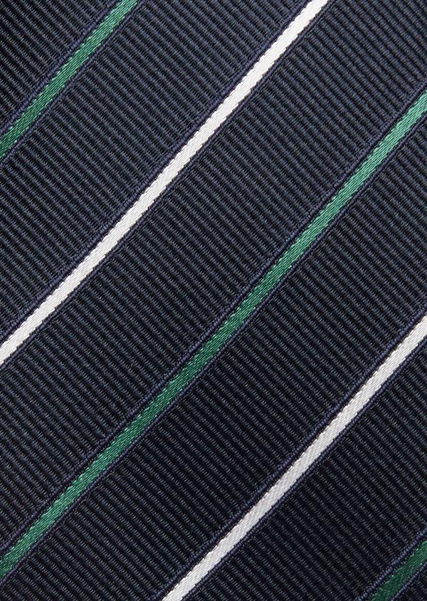 Cravate fine en soie bleue à rayures vert et blanc - Father and Sons 37786