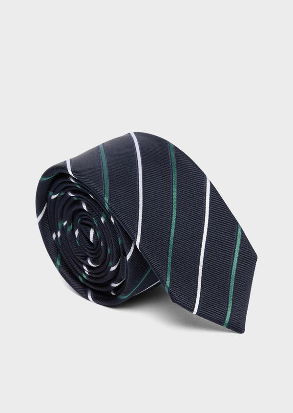 Cravate fine en soie bleue à rayures vert et blanc - Father and Sons 37785