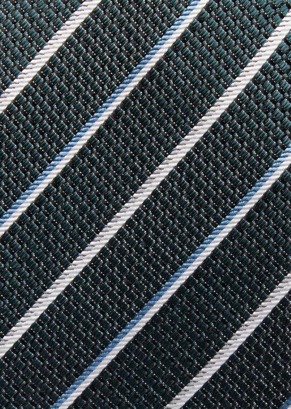 Cravate club fine en soie vert, blanc et bleu - Father and Sons 37782
