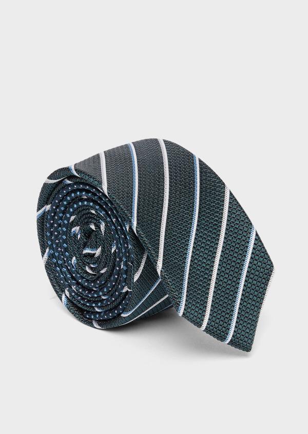 Cravate club fine en soie vert, blanc et bleu - Father and Sons 37781