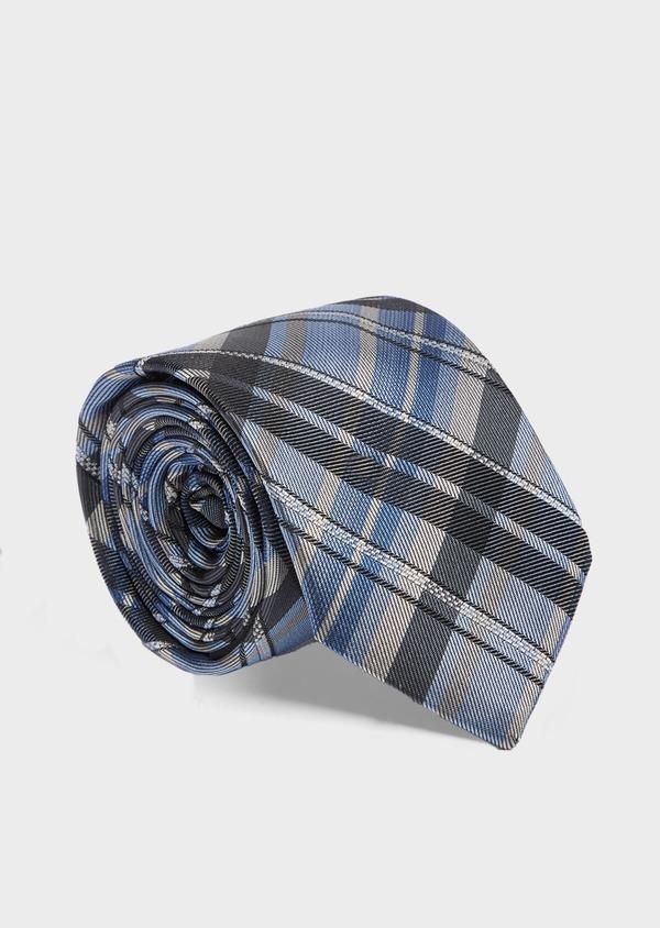 Cravate large en soie à carreaux bleu, beige et gris - Father and Sons 41127