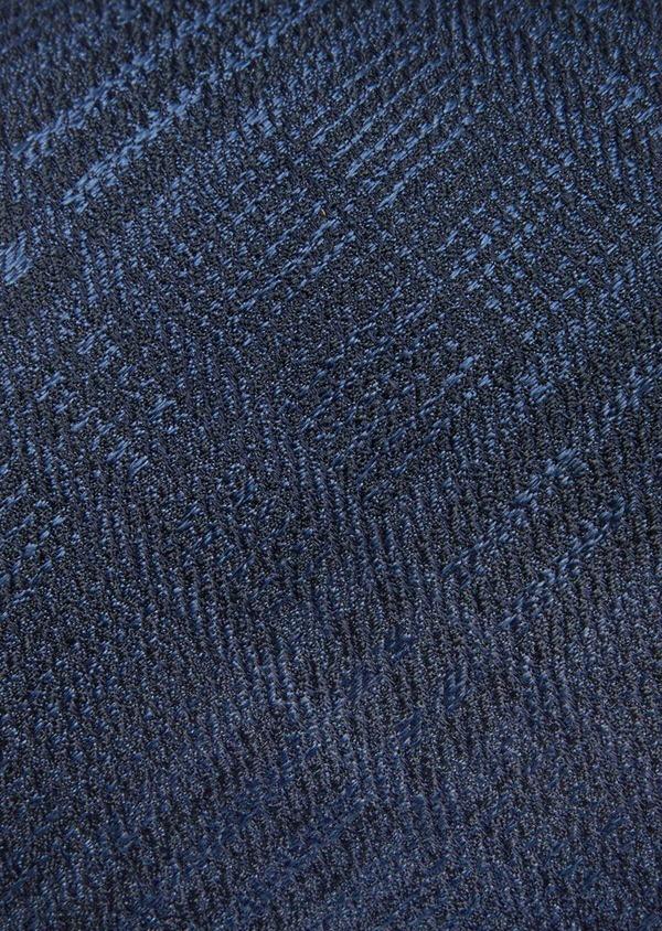Cravate large en soie bleu marine à carreaux - Father and Sons 41100