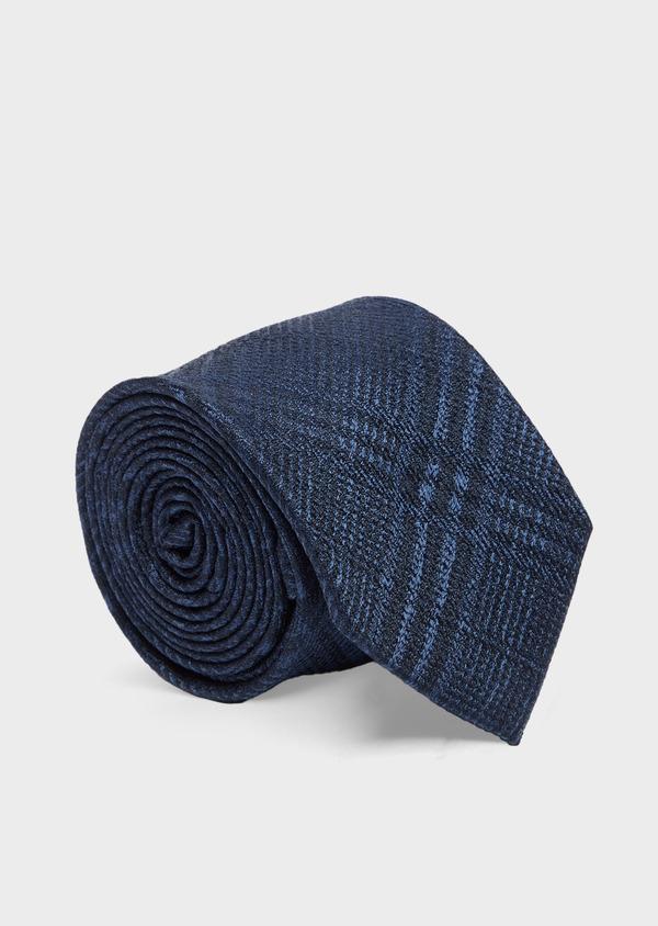 Cravate large en soie bleu marine à carreaux - Father and Sons 41099