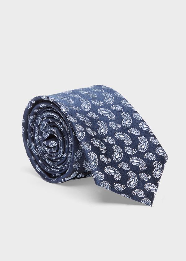 Cravate large en soie bleu indigo à motif cachemire bleu ciel - Father and Sons 41053