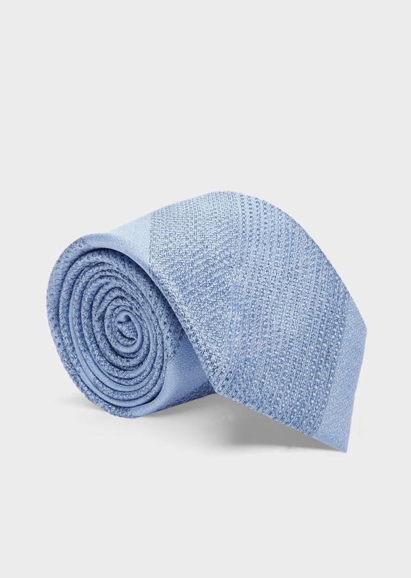 Cravate large en soie bleu azur à larges rayures - Father and Sons 41077
