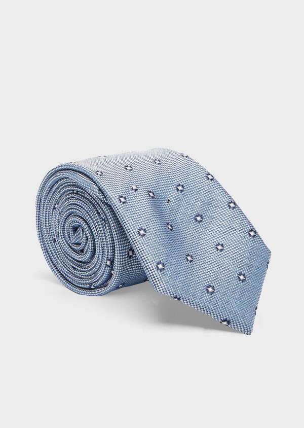 Cravate large en soie bleu azur à motif fantaisie bleu foncé - Father and Sons 41081