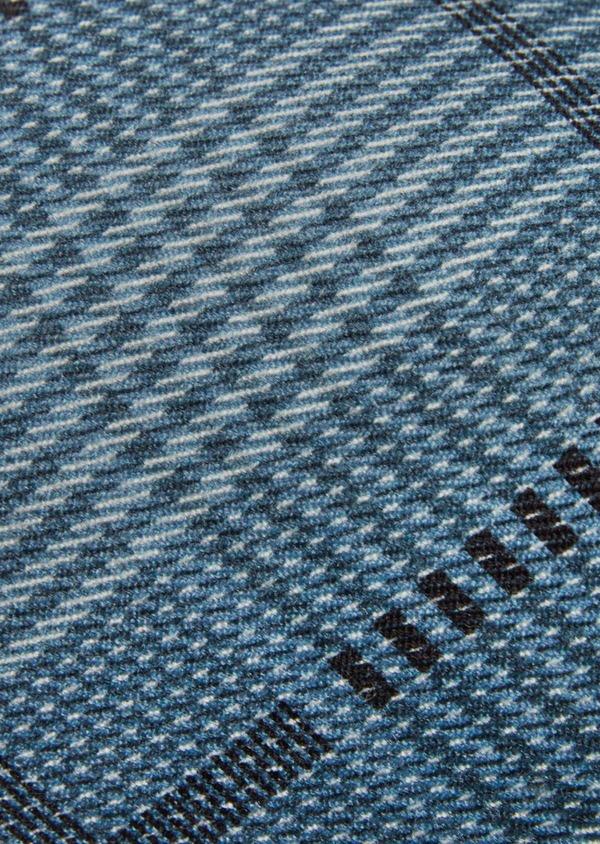 Cravate fine en soie bleu, noir et gris Prince de Galles - Father and Sons 41084