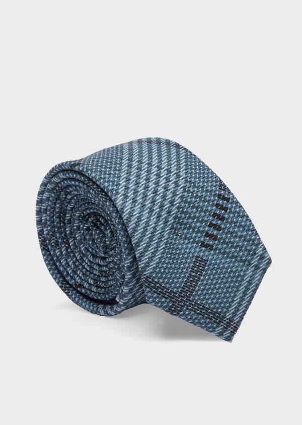 Cravate fine en soie bleu, noir et gris Prince de Galles - Father and Sons 41083