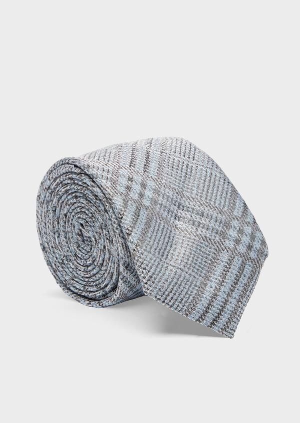Cravate fine en soie bleu et gris Prince de Galles - Father and Sons 41089