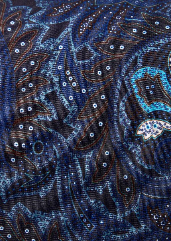 Cravate fine en soie bleu foncé à motif cachemire beige et bleu - Father and Sons 41098