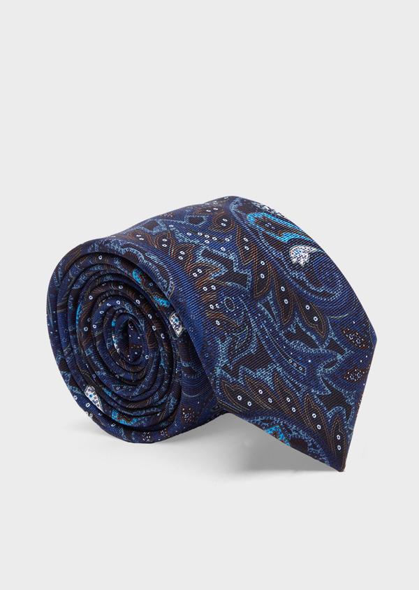 Cravate fine en soie bleu foncé à motif cachemire beige et bleu - Father and Sons 41097