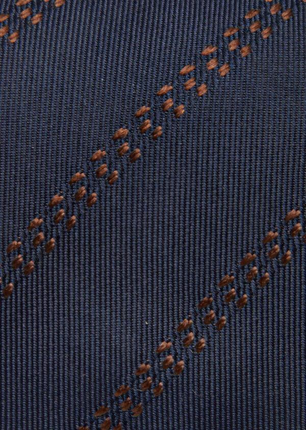 Cravate club fine en soie bleu et marron - Father and Sons 41104