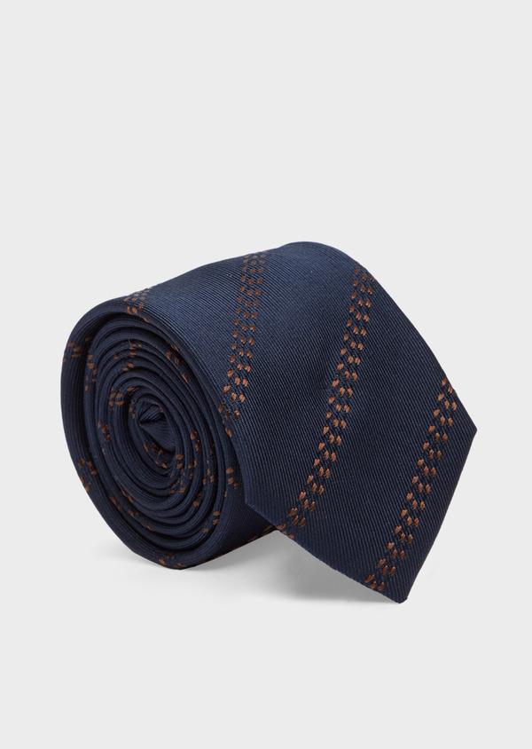 Cravate club fine en soie bleu et marron - Father and Sons 41103
