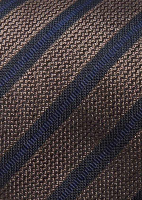 Cravate club large en soie marron et bleu - Father and Sons 41106