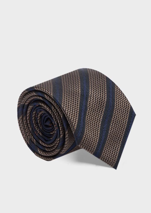 Cravate club large en soie marron et bleu - Father and Sons 41105