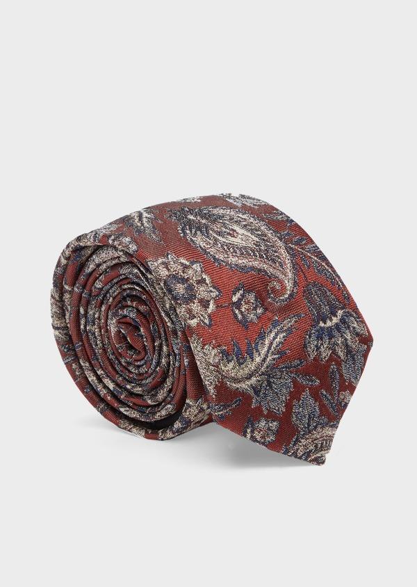 Cravate fine en soie mélangée bordeaux à motif cachemire beige et bleu - Father and Sons 41139
