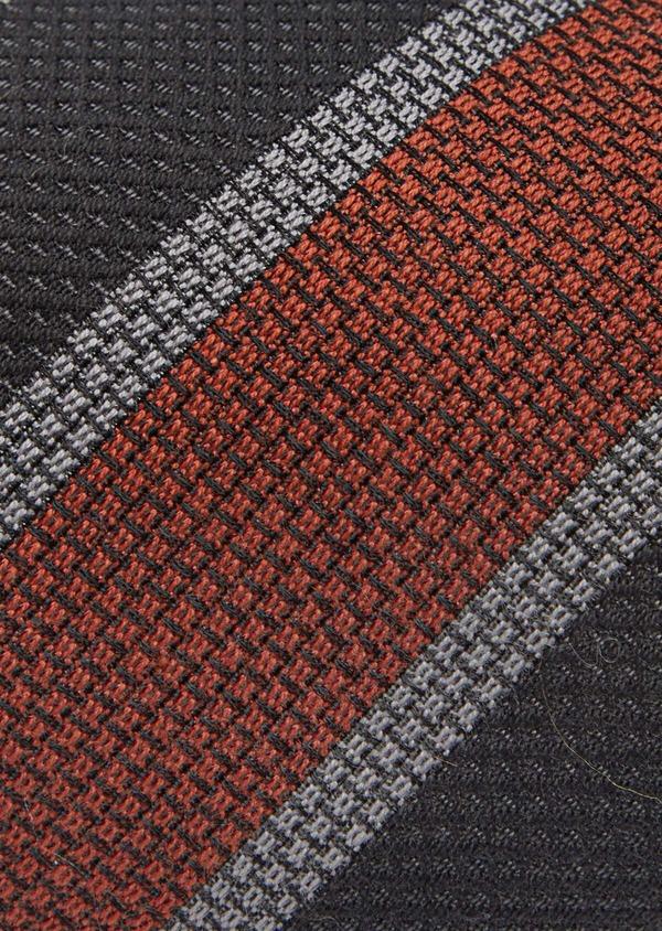 Cravate club large en soie et coton gris, orange et noir - Father and Sons 41142