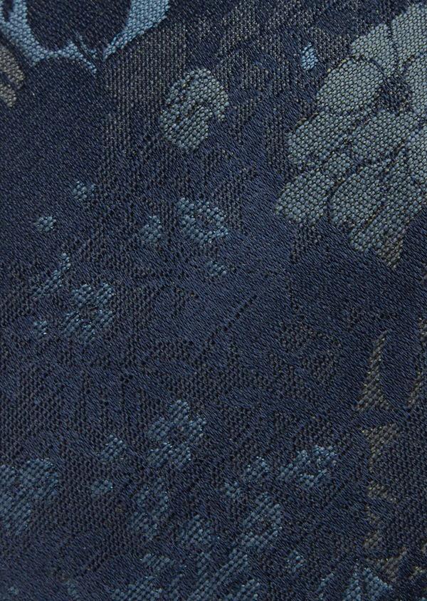 Cravate fine en soie et coton bleu à motif fleuri - Father and Sons 41126
