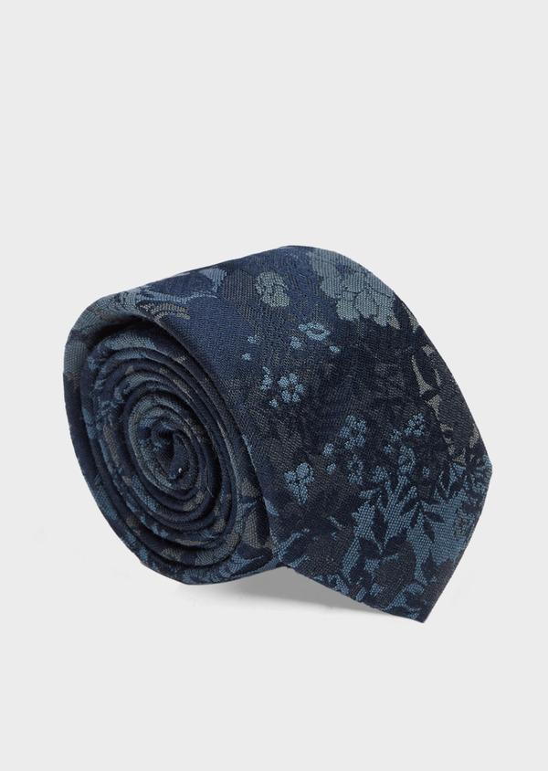 Cravate fine en soie et coton bleu à motif fleuri - Father and Sons 41125