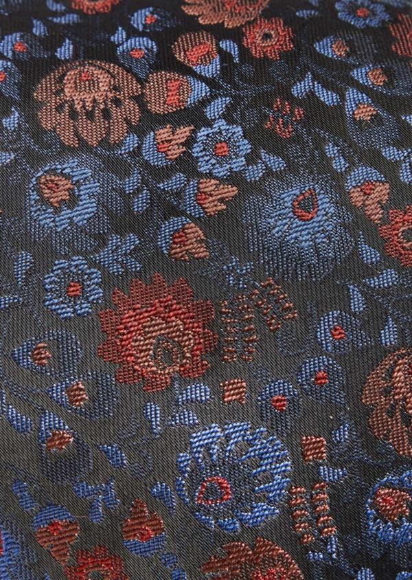 Cravate fine en soie mélangée bleu foncé à motif fleuri bleu et rose - Father and Sons 41136