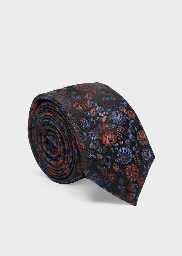 Cravate fine en soie mélangée bleu foncé à motif fleuri bleu et rose - Father and Sons 41135