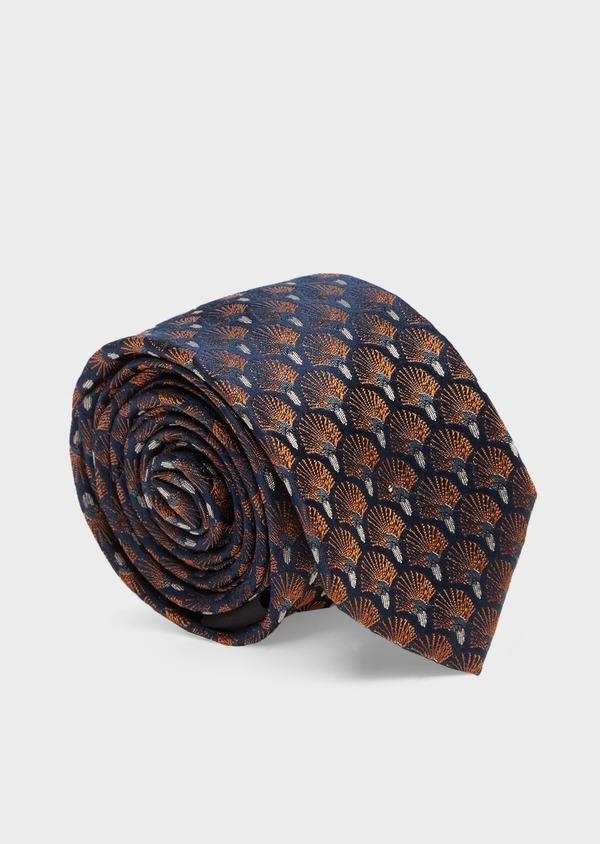 Cravate fine en soie bleu foncé à motifs plumes roses cuivrées - Father and Sons 41137