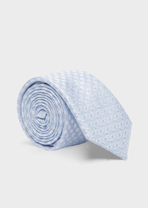 Cravate fine en soie à motifs géométriques bleu ciel - Father and Sons 41059