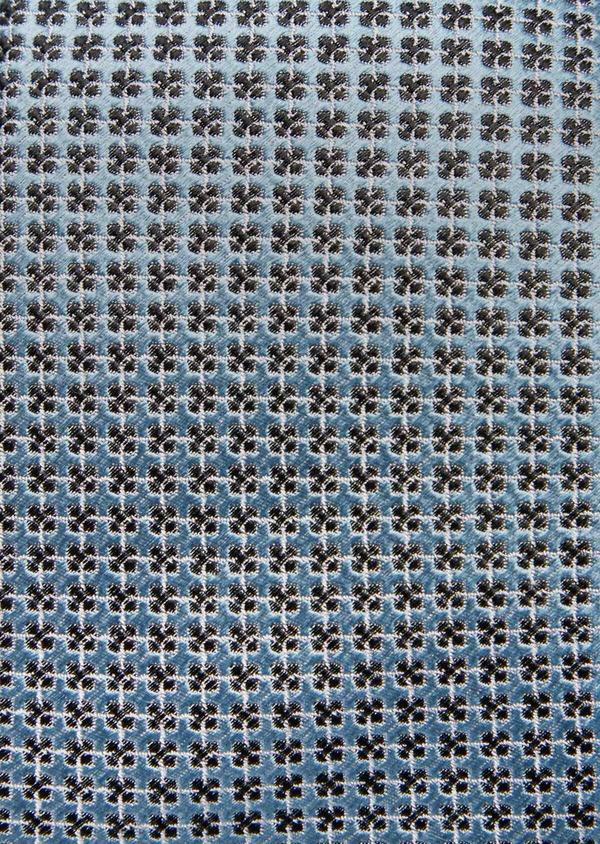Cravate large en soie bleu pâle à motifs géométriques noirs - Father and Sons 41094