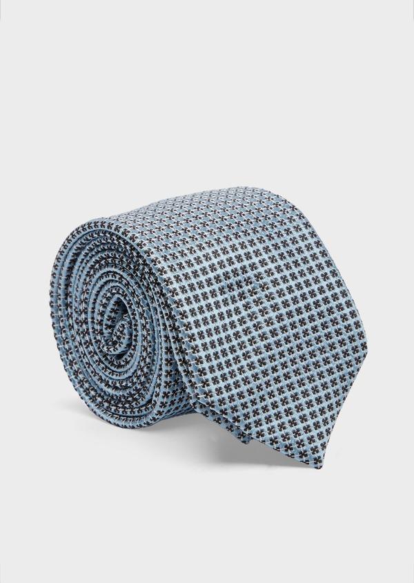 Cravate large en soie bleu pâle à motifs géométriques noirs - Father and Sons 41093