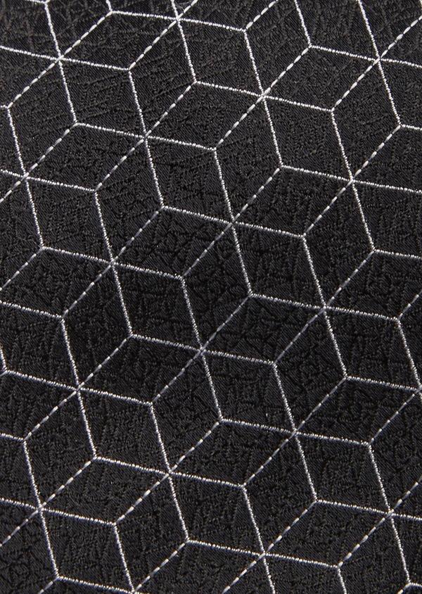 Cravate fine en soie grise à motifs géométriques - Father and Sons 41062