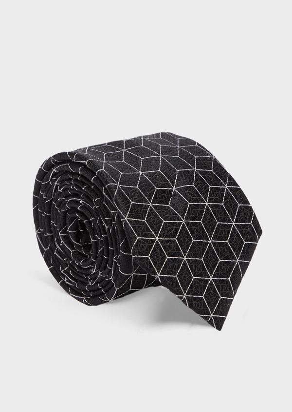 Cravate fine en soie grise à motifs géométriques - Father and Sons 41061