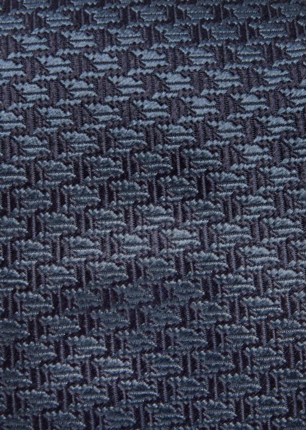 Cravate large en soie bleu marine à motif pied-de-poule - Father and Sons 41102