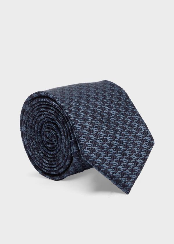 Cravate large en soie bleu marine à motif pied-de-poule - Father and Sons 41101