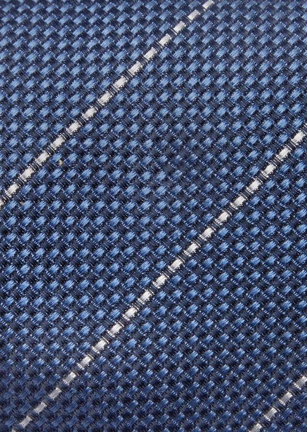 Cravate club large en soie bleu marine et blanc - Father and Sons 41108