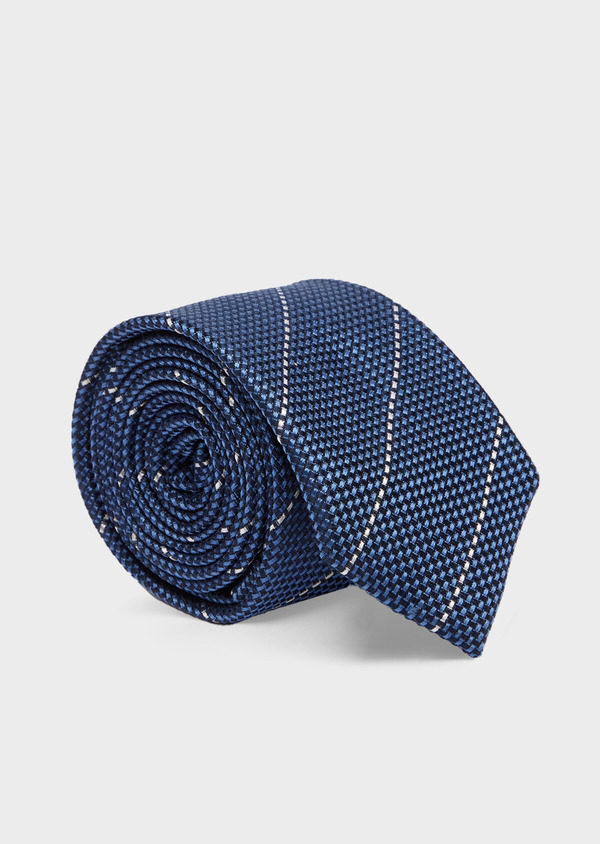 Cravate club large en soie bleu marine et blanc - Father and Sons 41107