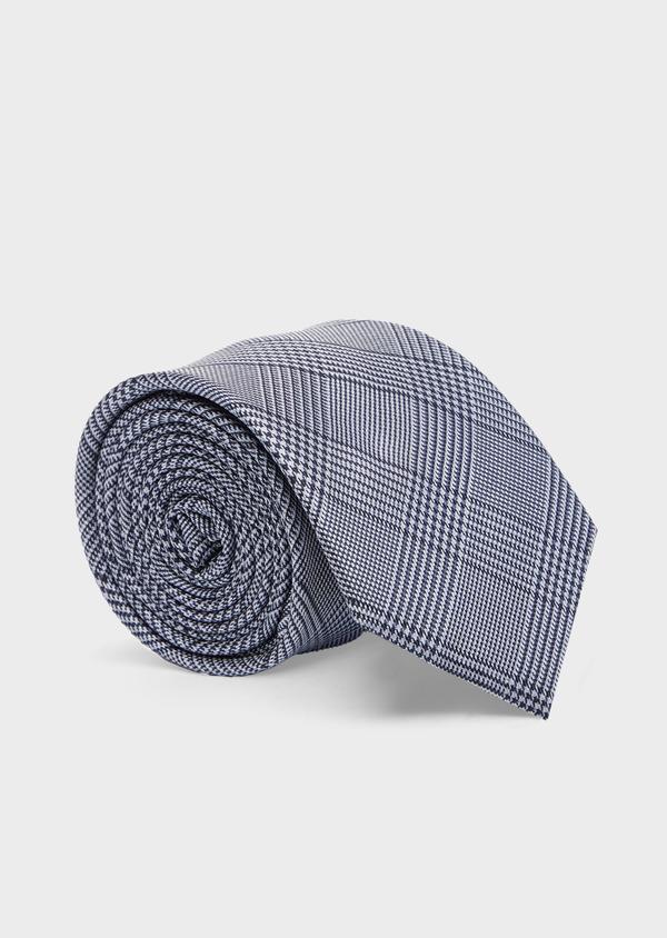 Cravate large en soie bleue Prince de Galles - Father and Sons 41109
