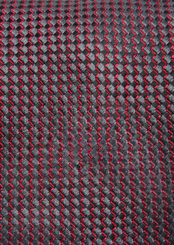 Cravate large en soie à motifs géométriques rouge, gris et noir - Father and Sons 41064