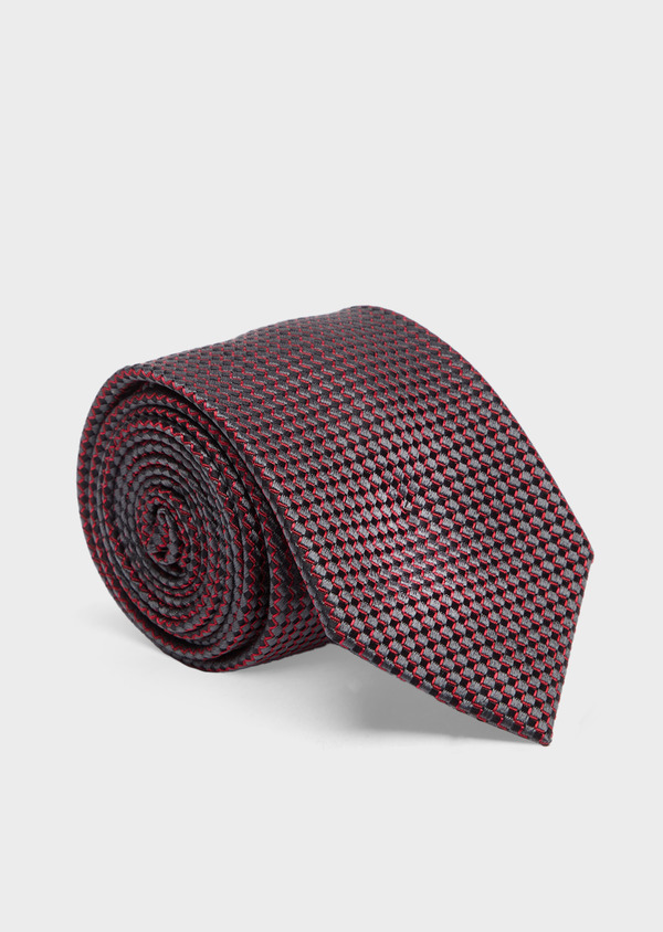 Cravate large en soie à motifs géométriques rouge, gris et noir - Father and Sons 41063
