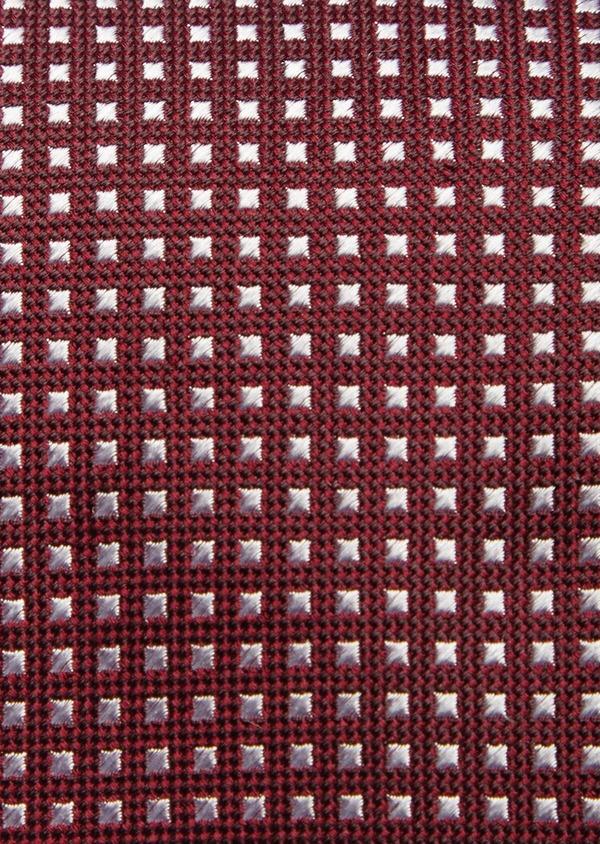 Cravate large en soie bordeaux à carrés blancs - Father and Sons 41074