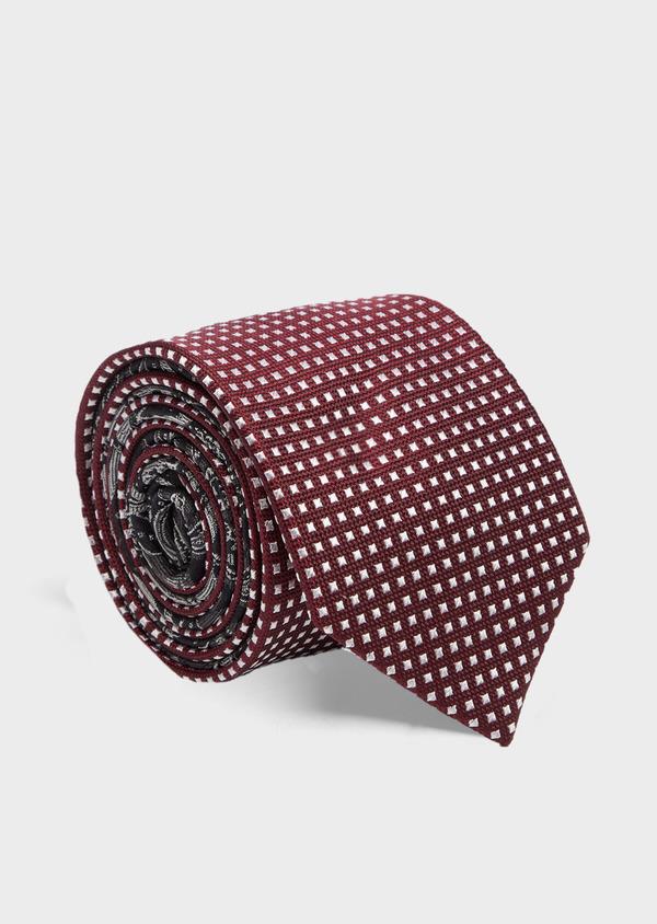 Cravate large en soie bordeaux à carrés blancs - Father and Sons 41073